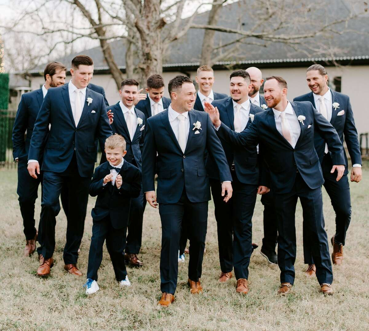 Alex Bregman with his groomsmen before his wedding with Reagan on Dec. 5, 2020.