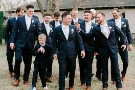 Alex Bregman with his groomsmen before his wedding with Reagan on Dec. 5, 2020.