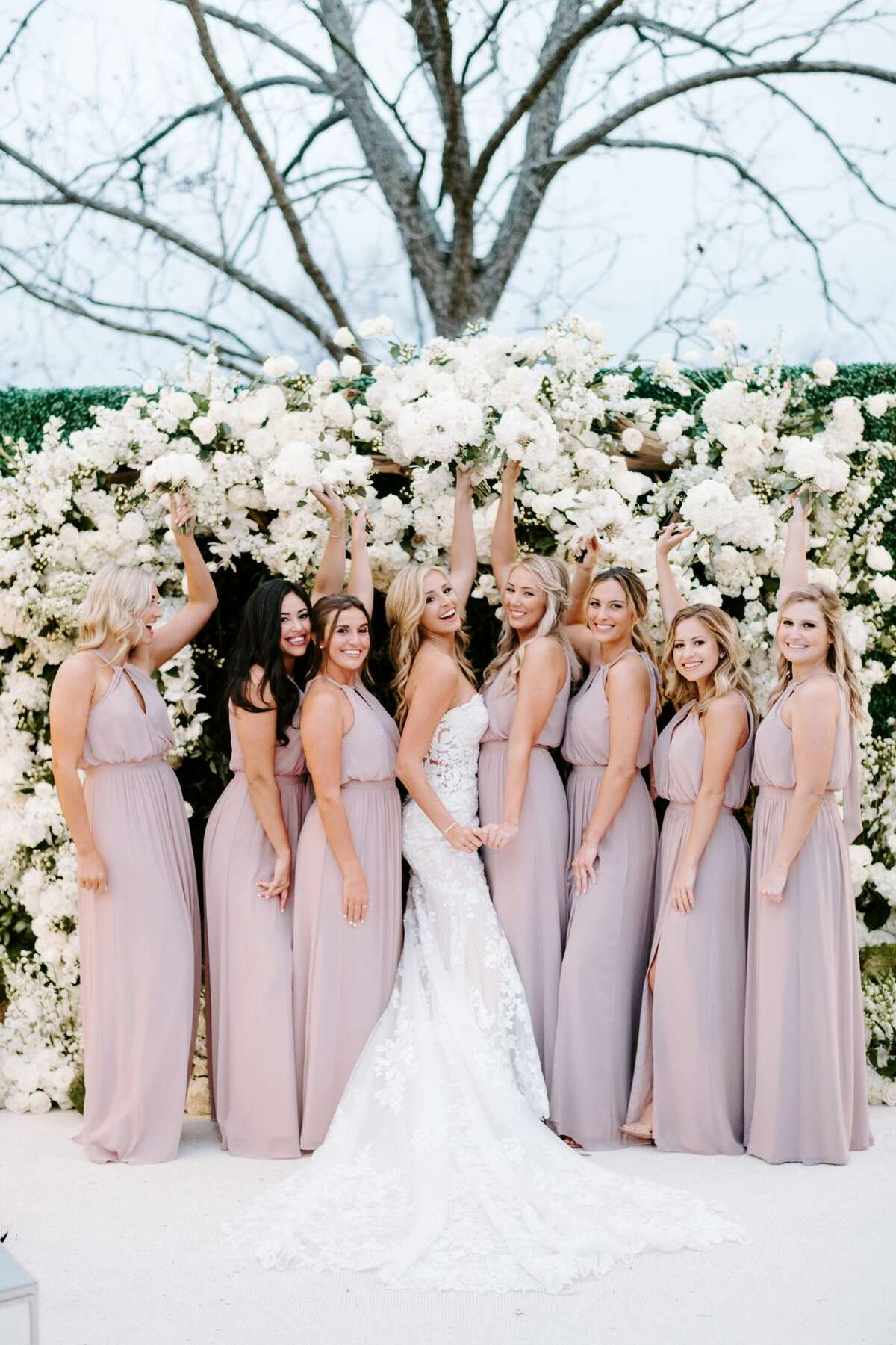 Reagan Bregman with her bridesmaids before her wedding with Alex on Dec. 5, 2020.