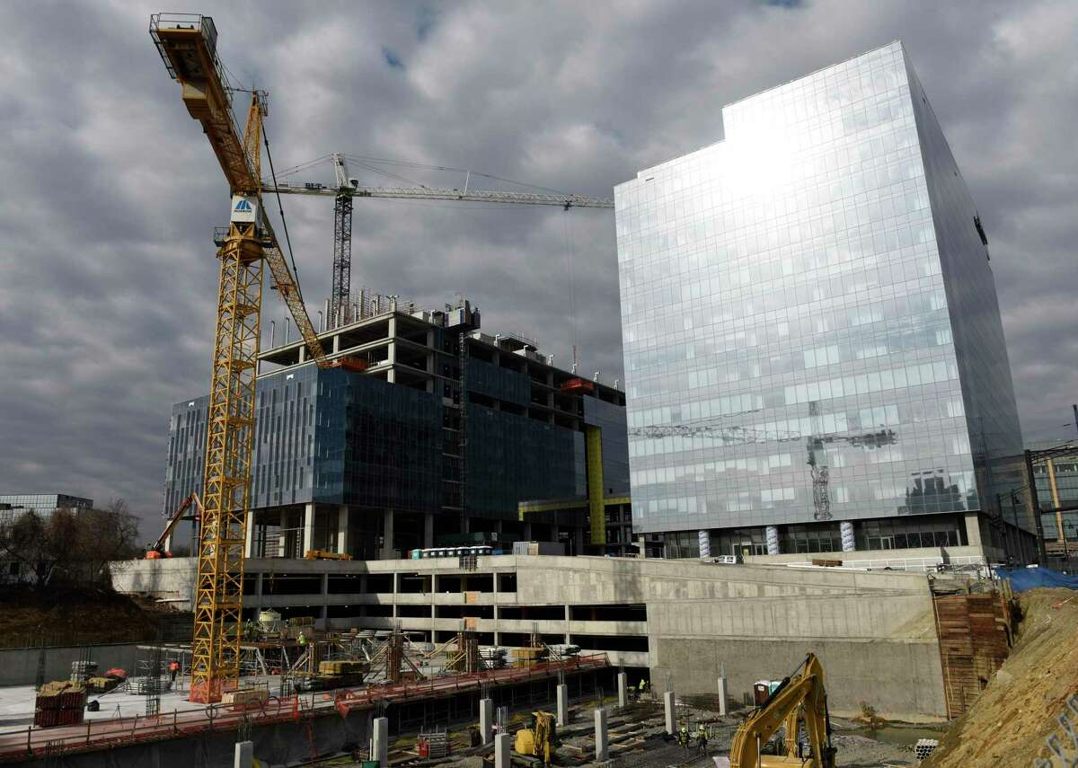 Construction in January 2021 on the new Charter Communications headquarters in Stamford, Conn., with the cable giant among those to relocate to Connecticut under the First Five incentive program of former Gov. Dannel Malloy.