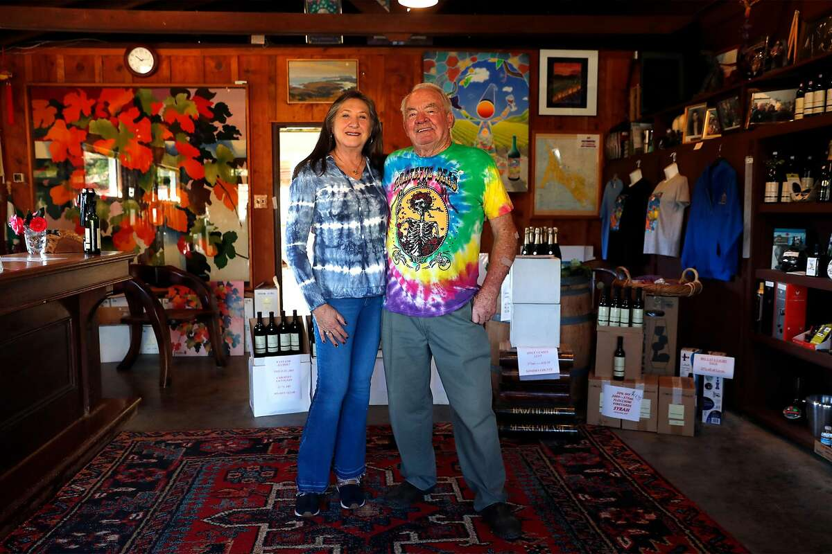 Steve Doughty and his wife, Molly Doughty, in the Point Reyes Vineyards tasting room.