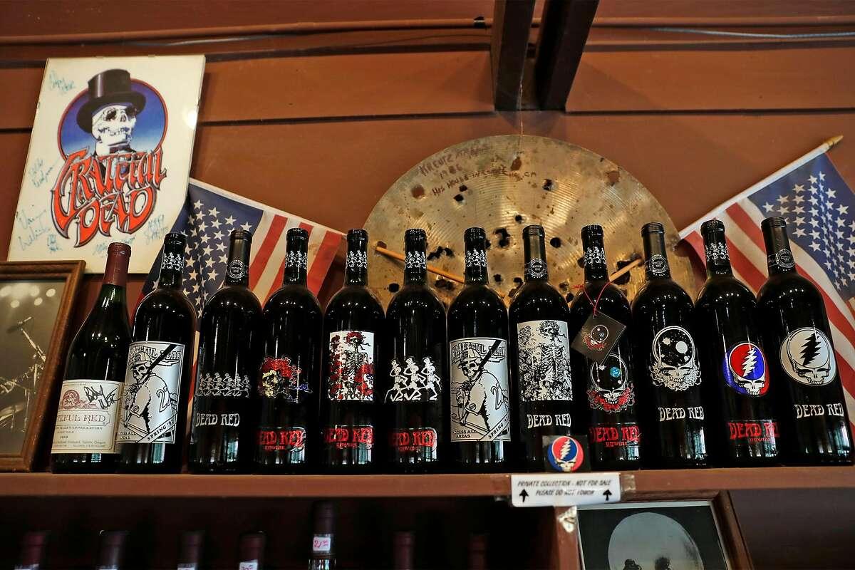 Grateful Dead memorabilia is on display in the Point Reyes Vineyards tasting room.