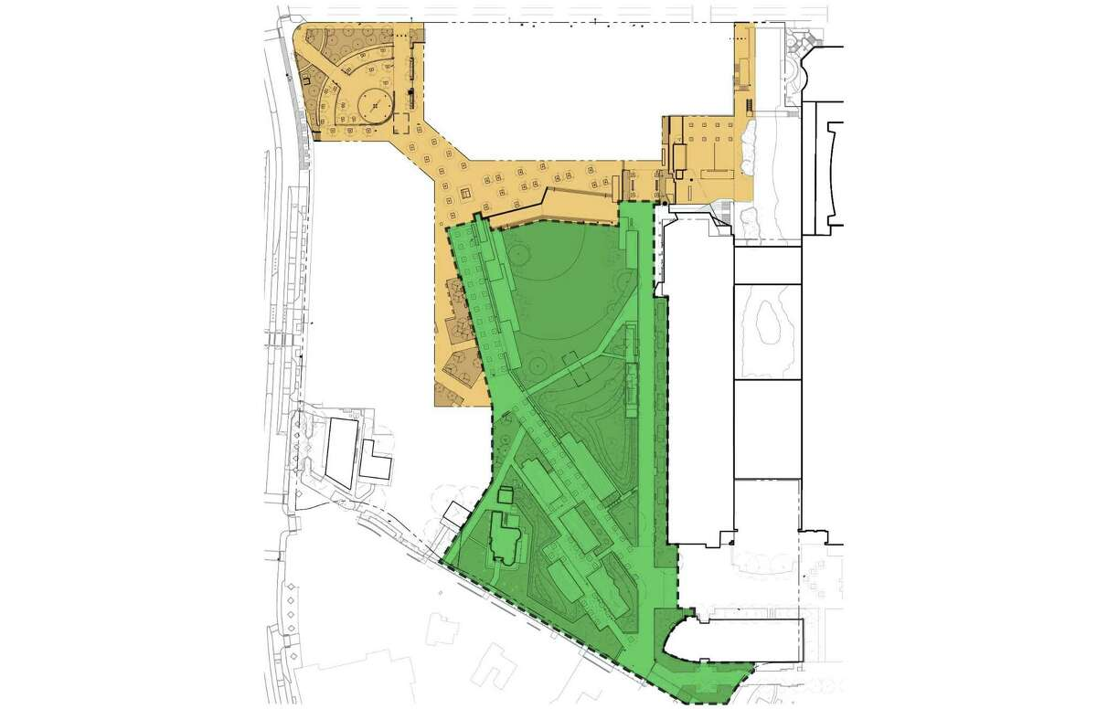 The first phase of Civic Park is shown in green.