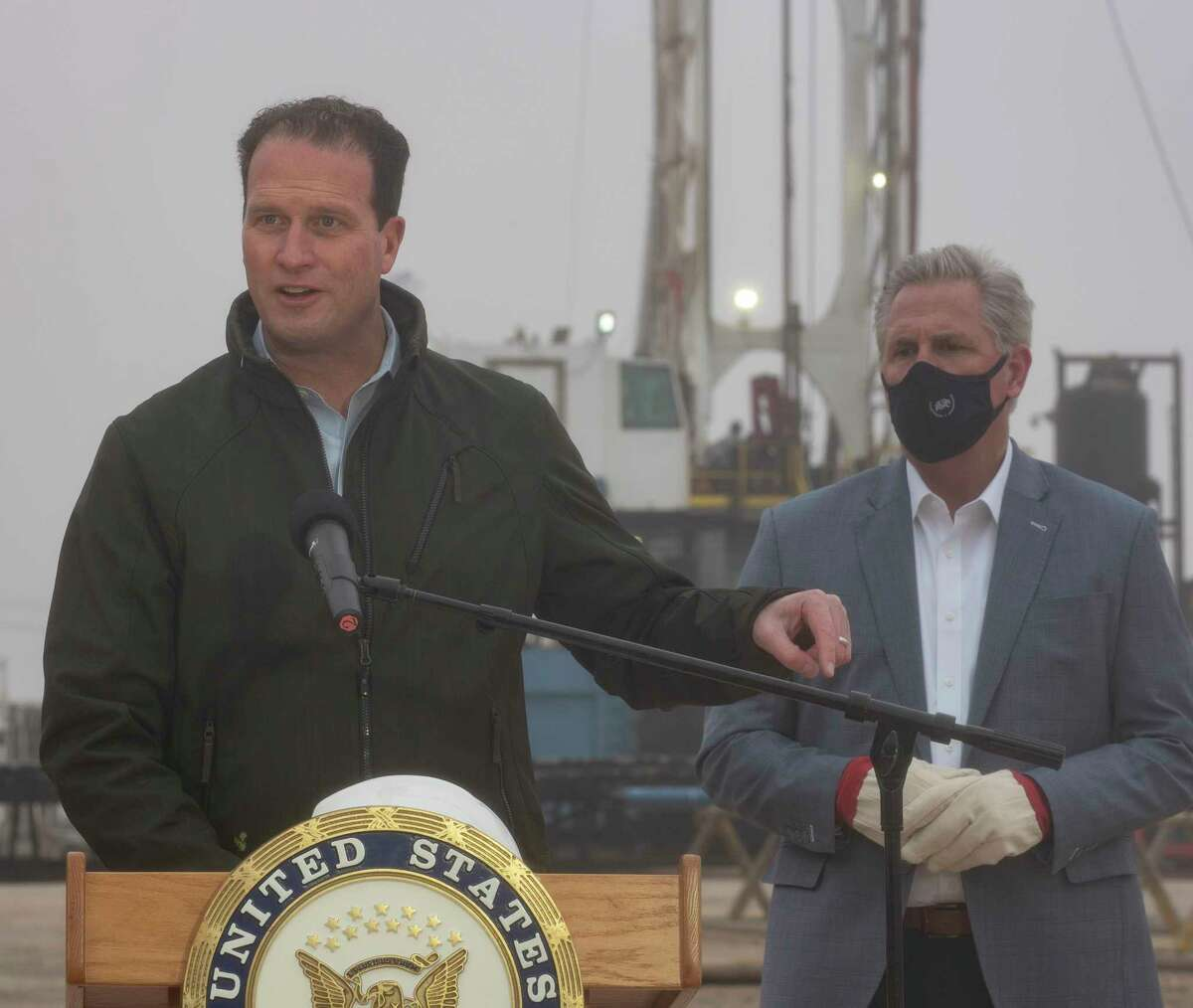 US Rep August Pfluger, with Kevin McCarthy, Congressman from California, address the media in February at a Diamondback drilling rig off County Road 60 in Midland. Tim Fischer/Reporter-Telegram