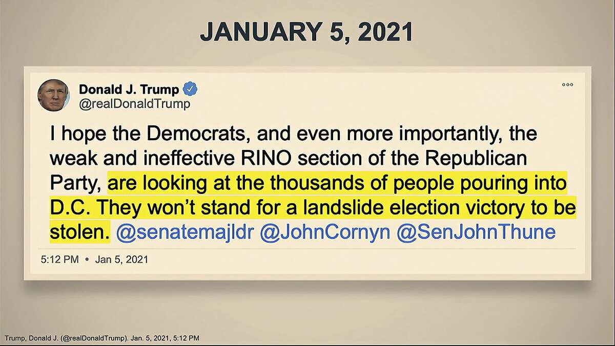 An image of a tweet displayed for senators by House manager Rep. Eric Swalwell, D-Dublin, during Donald Trump's second impeachment trial Wednesday.