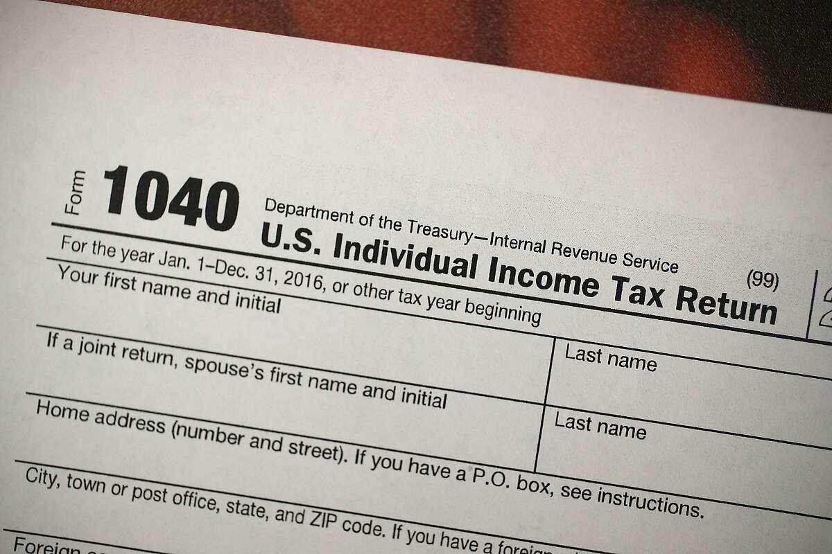 A copy of a IRS 1040 tax form.