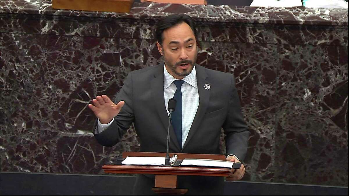 In this image from video, House impeachment manager Rep. Joaquin Castro, D-Texas, speaks during the second impeachment trial of former President Donald Trump in the Senate at the U.S. Capitol in Washington, Wednesday, Feb. 10, 2021. (Senate Television via AP)