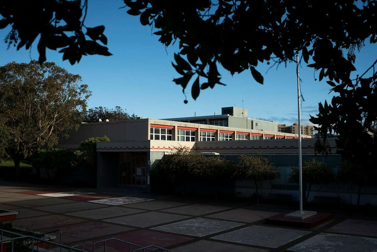 Lowell High School is seen in San Francisco, Calif. on Monday, Feb 1, 2021. An effort to address a lack of diversity and address concerns over racist incidents led to the school board's abrupt proposal this week to eliminate the selective admissions process in favor of a random lottery like the district's other high schools.