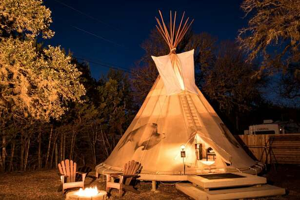 Right near Canyon Lake, there's a romantic tipi rental near waterfalls.