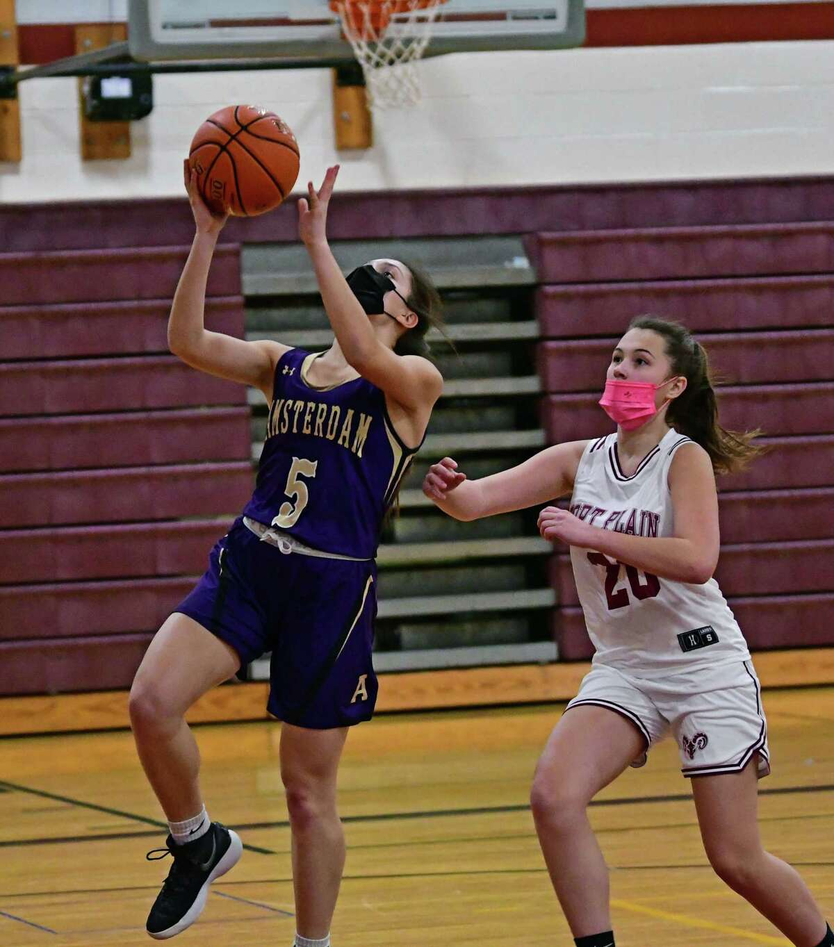 Amsterdam's Anne Stanavich goes up for a layup during a basketball game against Fort Plain on Wednesday, Feb. 10, 2021 in Fort Plain, N.Y. (Lori Van Buren/Times Union)