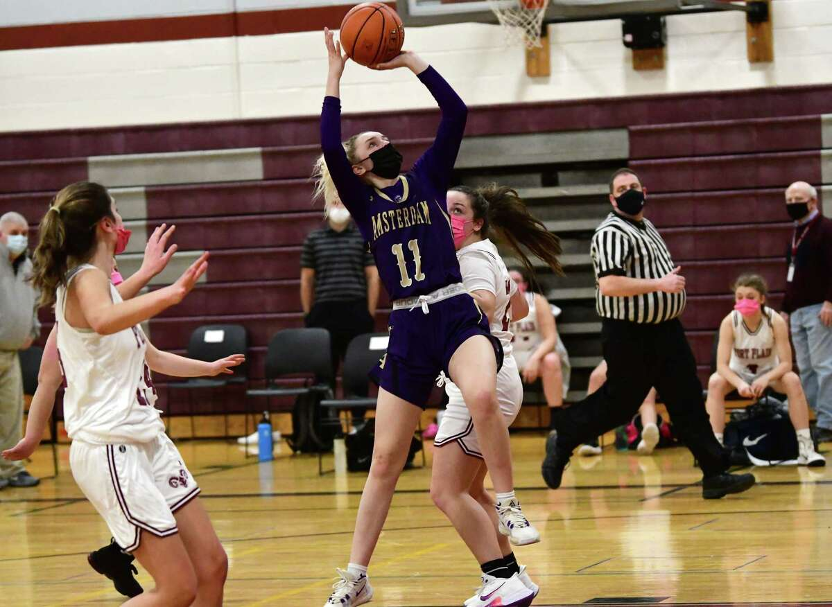 Amsterdam's Andie Gannon goes up for a layup during a basketball game against Fort Plain on Wednesday, Feb. 10, 2021 in Fort Plain, N.Y. (Lori Van Buren/Times Union)
