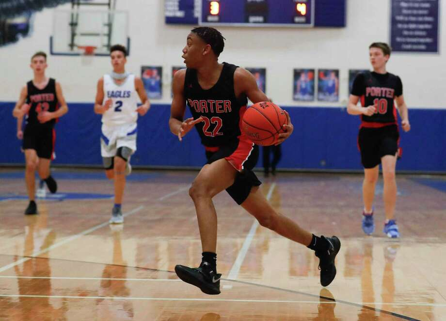 Porter point guard Isaiah Vaughn (22), shown here earlier this season, had 10 points in the Spartans' win over Dayton Wednesday night. Photo: Jason Fochtman, Houston Chronicle / Staff Photographer / 2020 © Houston Chronicle
