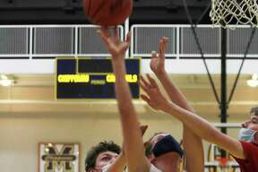 Manistee's Grant Schlaff goes up for a shot against Big Rapids on Wednesday. (Dylan Savela/News Advocate)