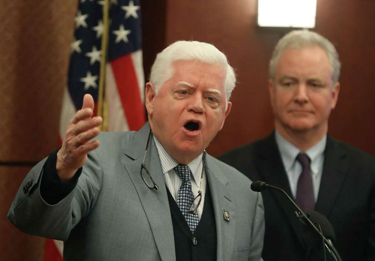 WASHINGTON, DC - JANUARY 30: Rep. John Larson (D-CT) speaks while flanked by Sens. Chris Van Hollen (D-MD) (R) during an event to introduce legislation called the Social Security 2100 Act. which would increase increase benefits and strengthen the fund, during a news conference on Capitol Hill January 30, 2019 in Washington, DC. (Photo by Mark Wilson/Getty Images)