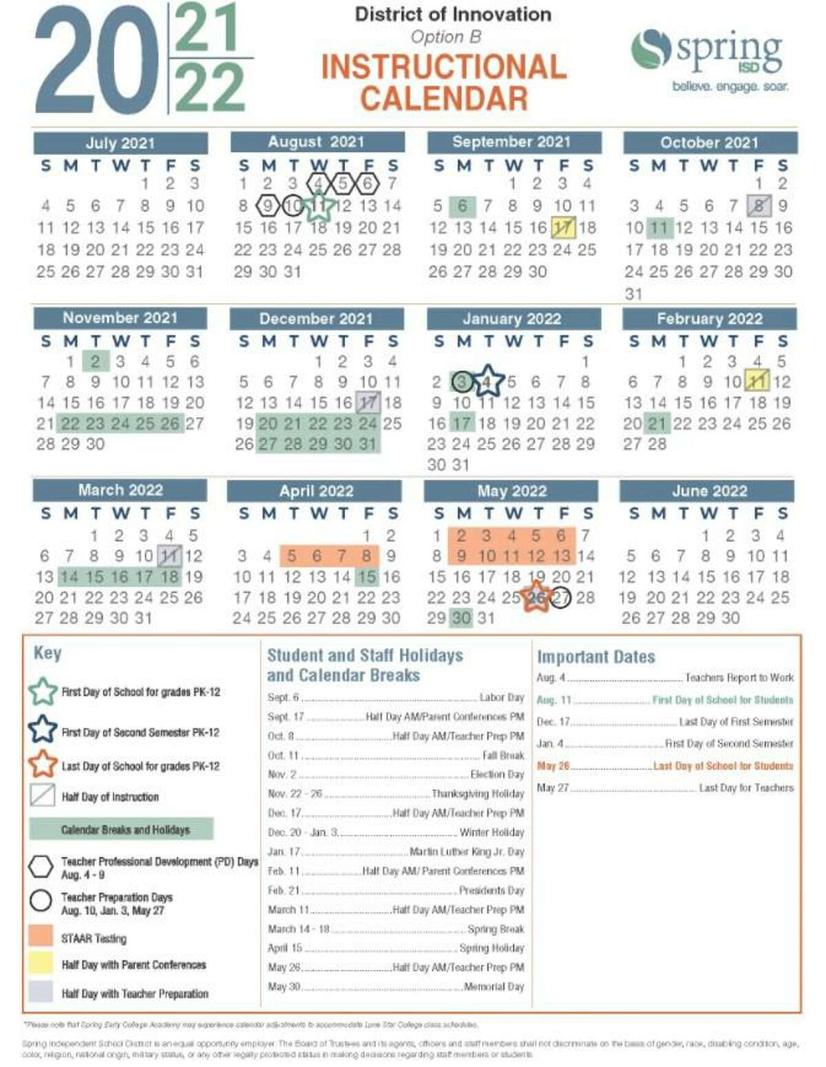 The Spring ISD board of trustees approved the instructional calendar for the 2021-2022 school year at their Feb. 9, 2021 meeting.