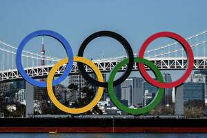 The Olympic rings at the Odaiba waterfront in Tokyo on Feb. 10, 2021. NBC Sports will broadcast live the summer Olympics' opening ceremony on July 23, 2021.