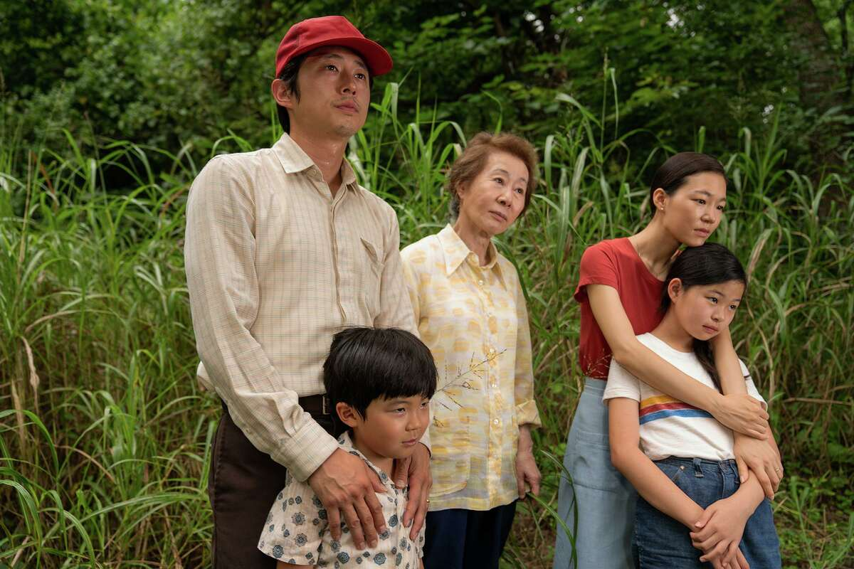 From left are Steven Yeun, Alan Kim, Yuh-Jung Youn, Yeri Han and Noel Kate Cho in