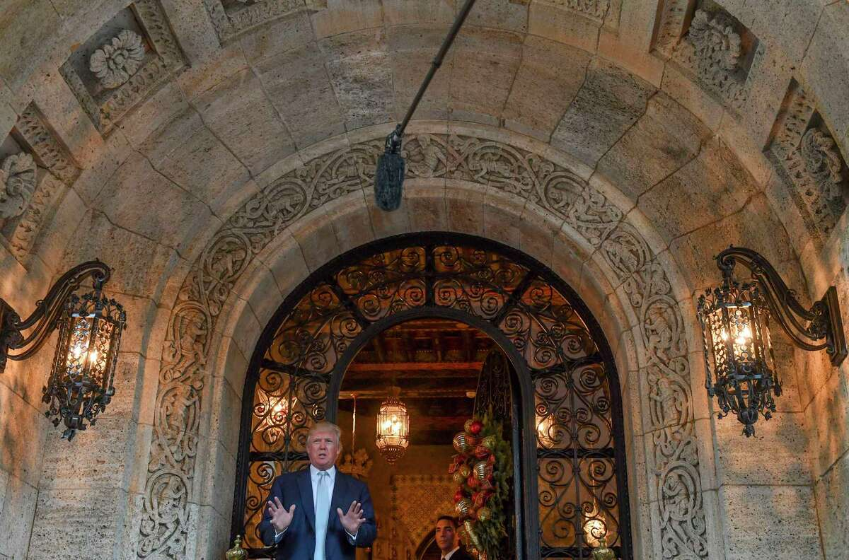 President-elect Donald Trump makes a statement to the media at Mar-a-Lago Club in December 2016 in Palm Beach, Fla. Photo by Ricky Carioti/The Washington Post)