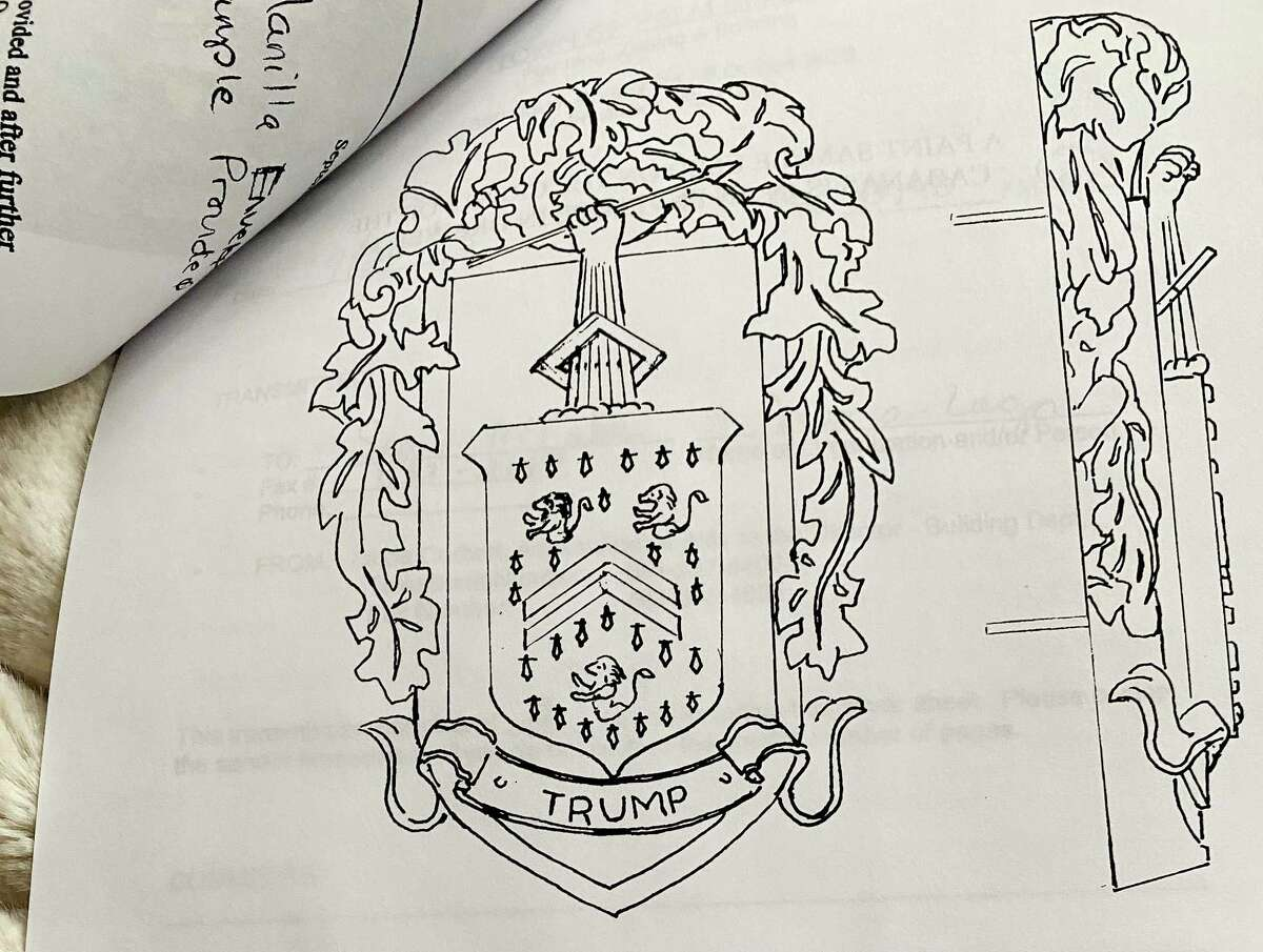 A sketch of the Trump coat-of-arms, which was added to some of the decor at Mar-a-Lago. The sketch was obtained via a public records request.