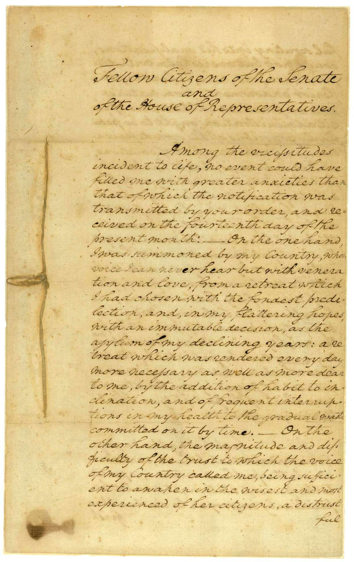 President George Washington's inaugural address of 1789.