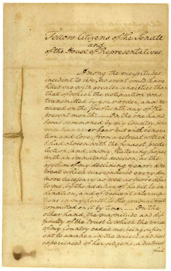 President George Washington's inaugural address of 1789. Photo: Public Domain/U.S. National Archives