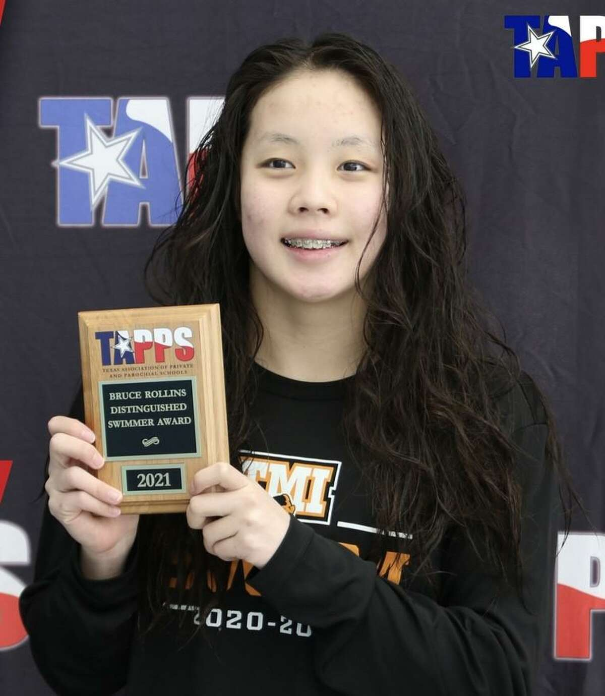 TMI freshman Emily Kitayama was named Girls Swimmer of the Meet for the TAPPS Division II Championships held Tuesday, Feb. 9, 2021 at Bill Walker Pool.