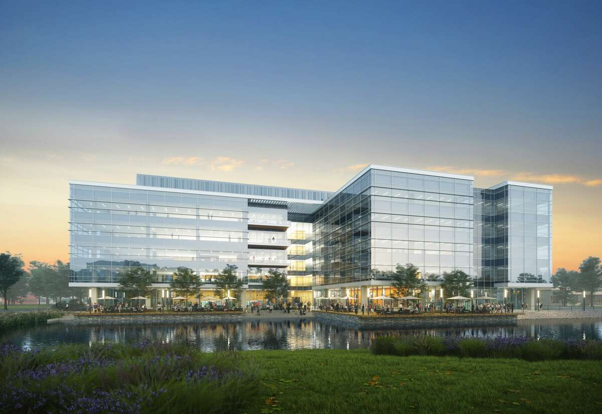 Hines and 2ML Real Estate Interests unveiled renderings of Levit Green, a 53-acre life science district near Holcombe and Texas 288 close to the Texas Medical Center. HOK designed the 5-story, 270,000-square-foot Phase I building.