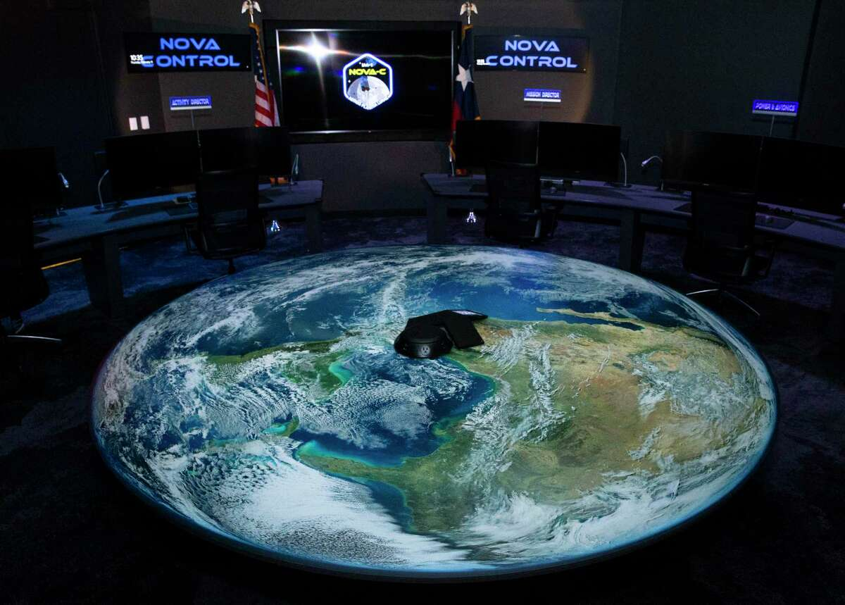 The new mission control center of Intuitive Machines, which is building a lunar lander that will travel to the moon later this year, is photographed Thursday, Feb. 11, 2021, in Houston.