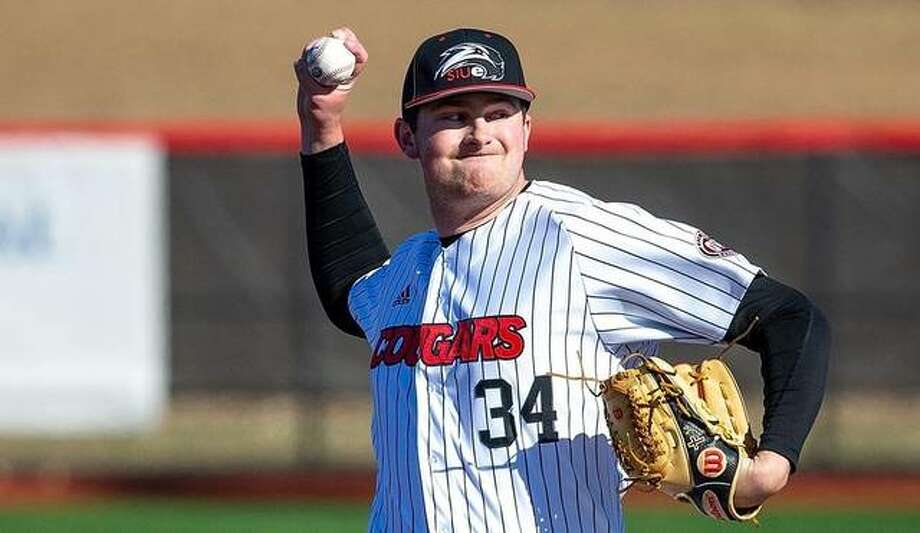 SIUE's Collin Baumgartner delivers a pitch during a home game last season for the Cougars. Photo: SIUE Athletics