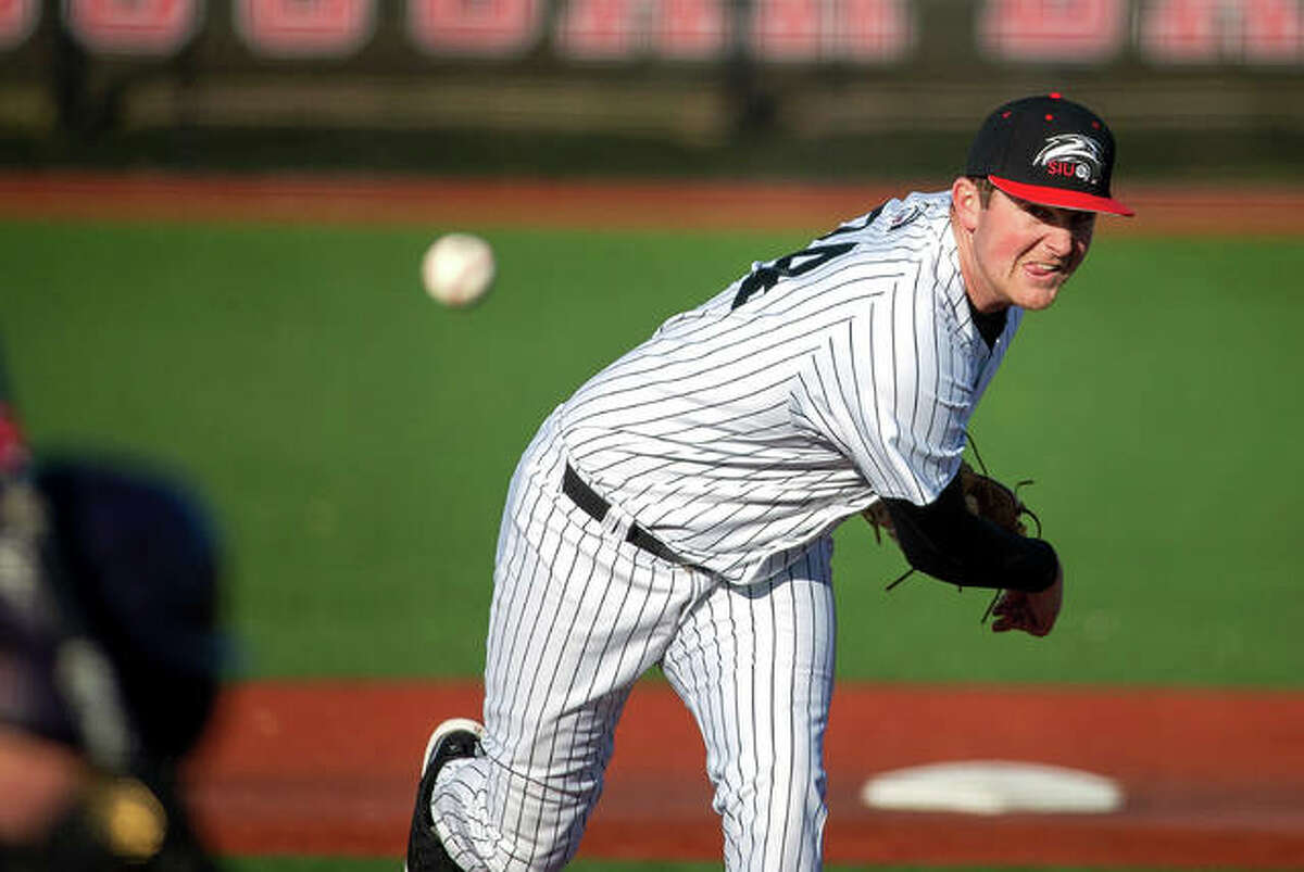 SIUE pitcher Collin Baumgartner, shown in a game last season, has been named to the All-OVC baseball preseason team.
