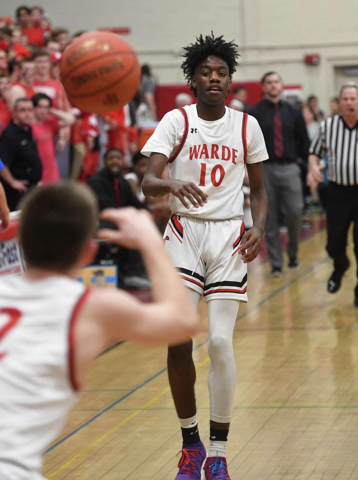 Justyn Davis from Fairfield Warde v. Ludlowe boys basketball at Warde High School in Fairfield, Conn. on Monday, February 03, 2020.