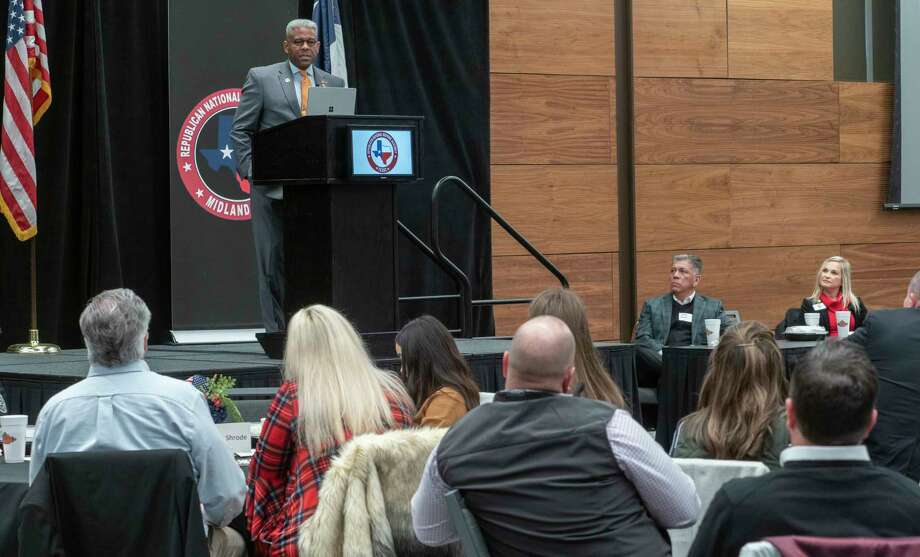 Allen West, Chairman of the Texas Republican Party, speaks at a luncheon of Republican National Hispanic Assembly members 02/11/2021 at the Bush Convention Center. Tim Fischer/Reporter-Telegram Photo: Tim Fischer, Midland Reporter-Telegram