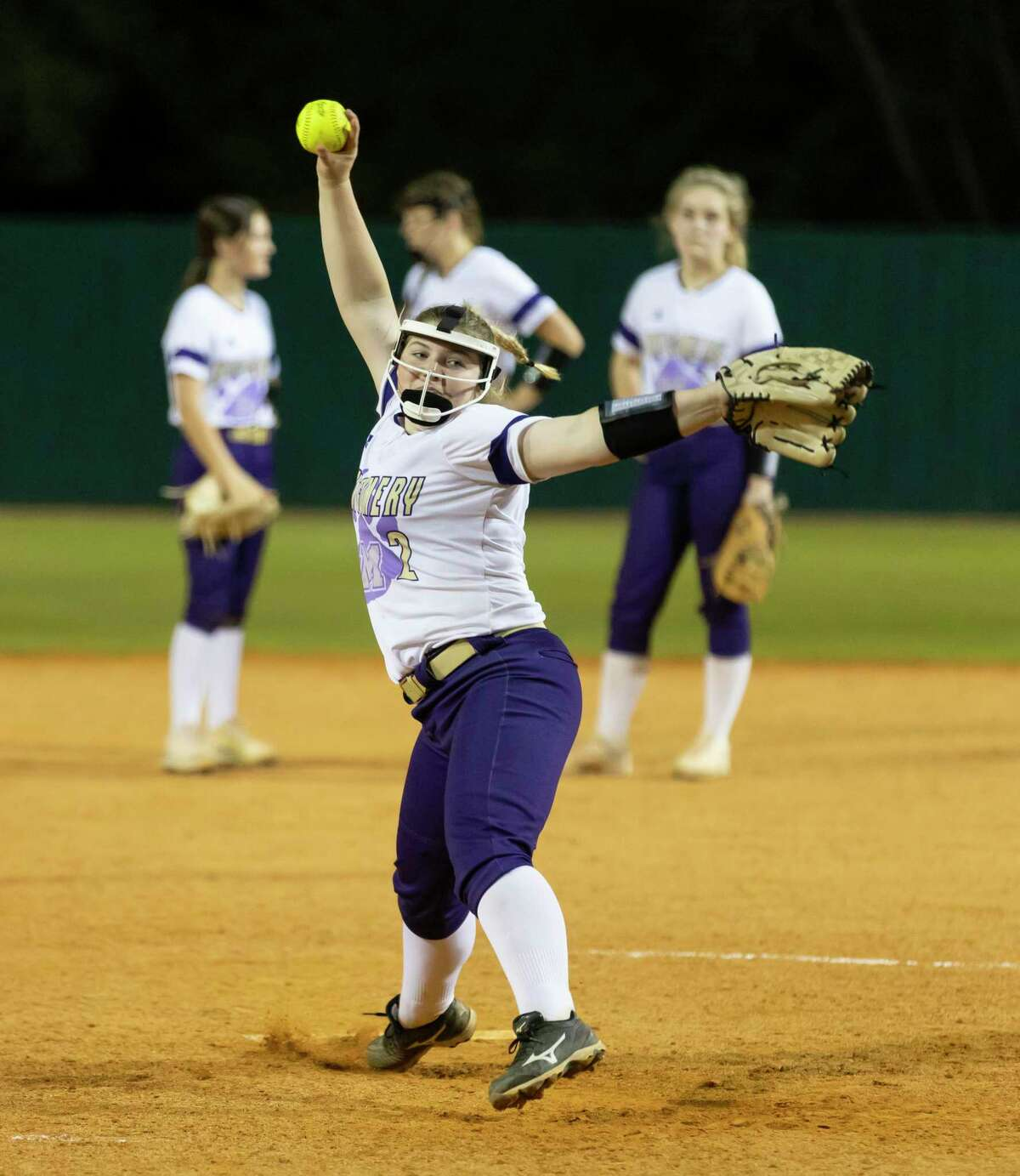 Montgomery's Reese Hall warms up in a game against Porter last year.