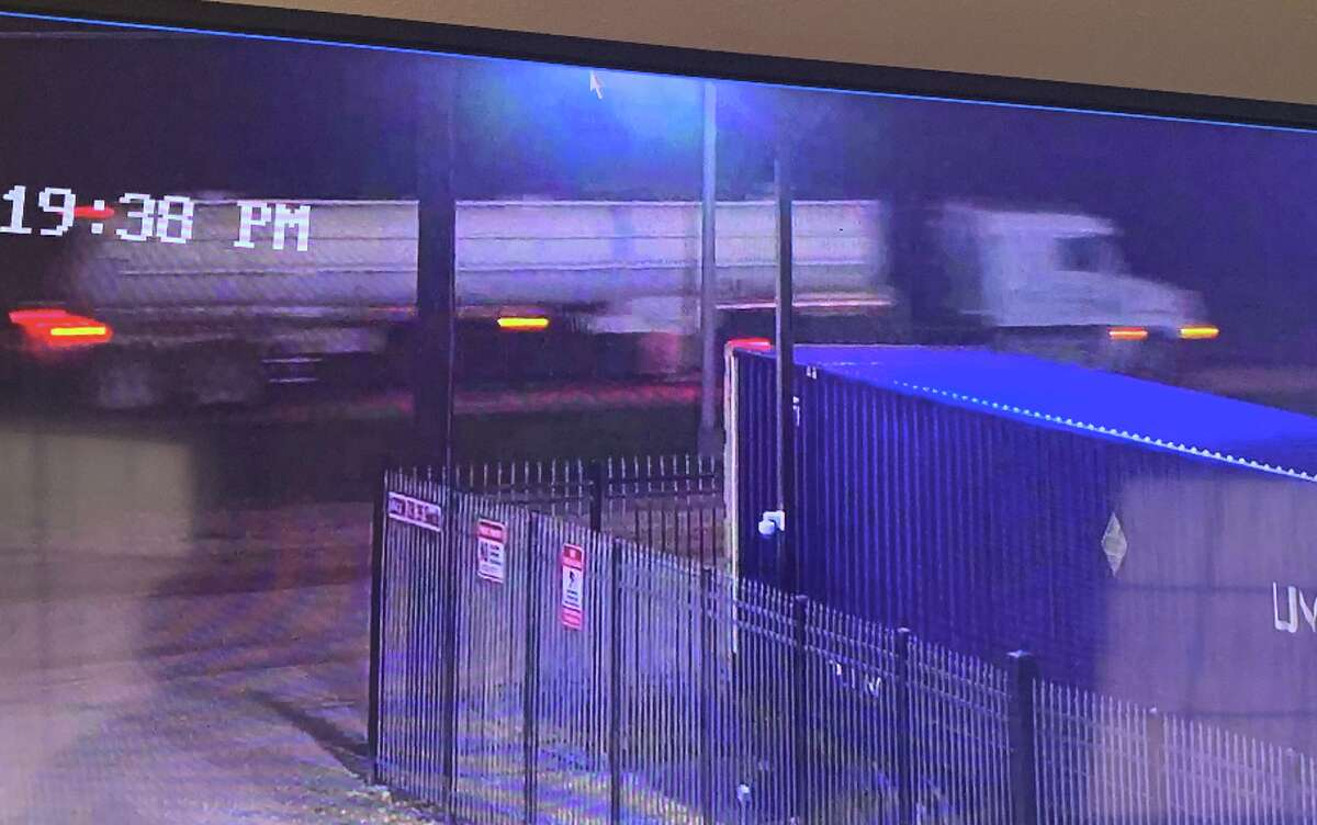 Surveillance footage from a nearby business captured a truck possibly involved in a 911 call in south Bexar County.