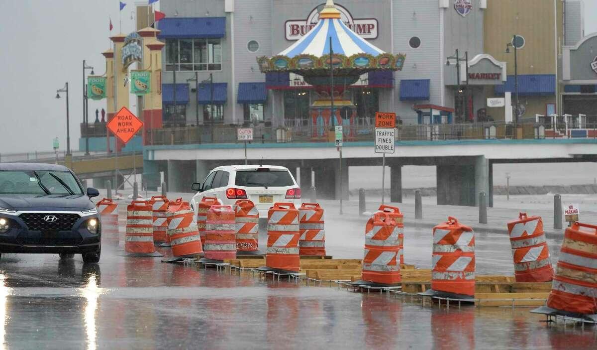 Construction of a median is shown along Seawall Blvd. near 27th St. Blvd. Thursday, Feb. 11, 2021 in Galveston.