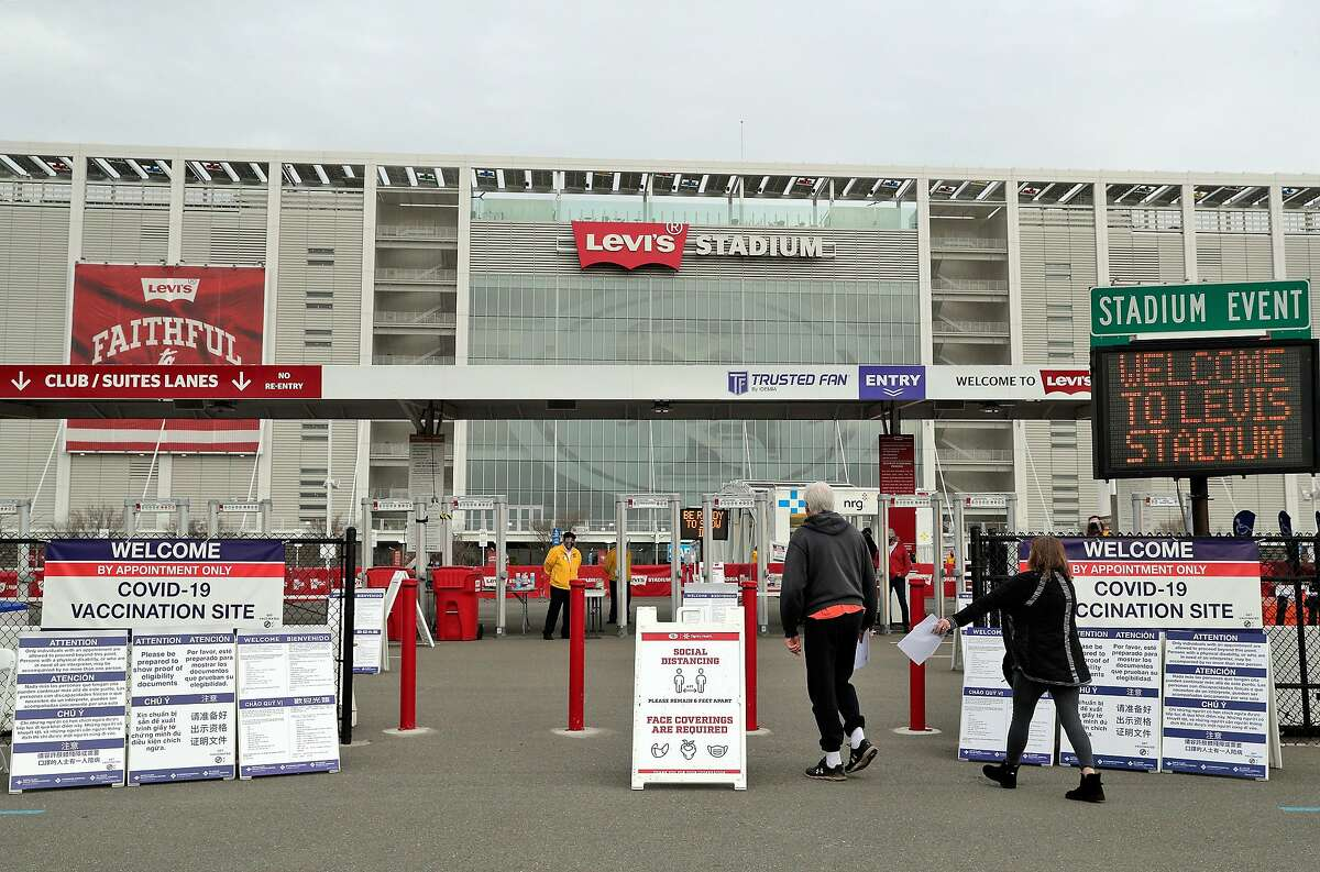 Mass COVID-19 vaccination site at Levi's Stadium where the 49ers were working with Santa Clara County Public Health to provide public vaccinations in Santa Clara, Calif., on Tuesday, February 9, 2021.