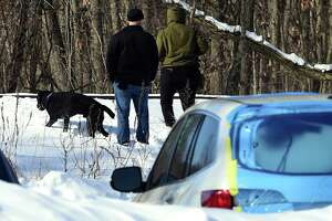 New Haven Police investigate an area behind Arby's on Washington Avenue in North Haven near the Best Western Plus with K-9s and metal detectors on February 11, 2021.