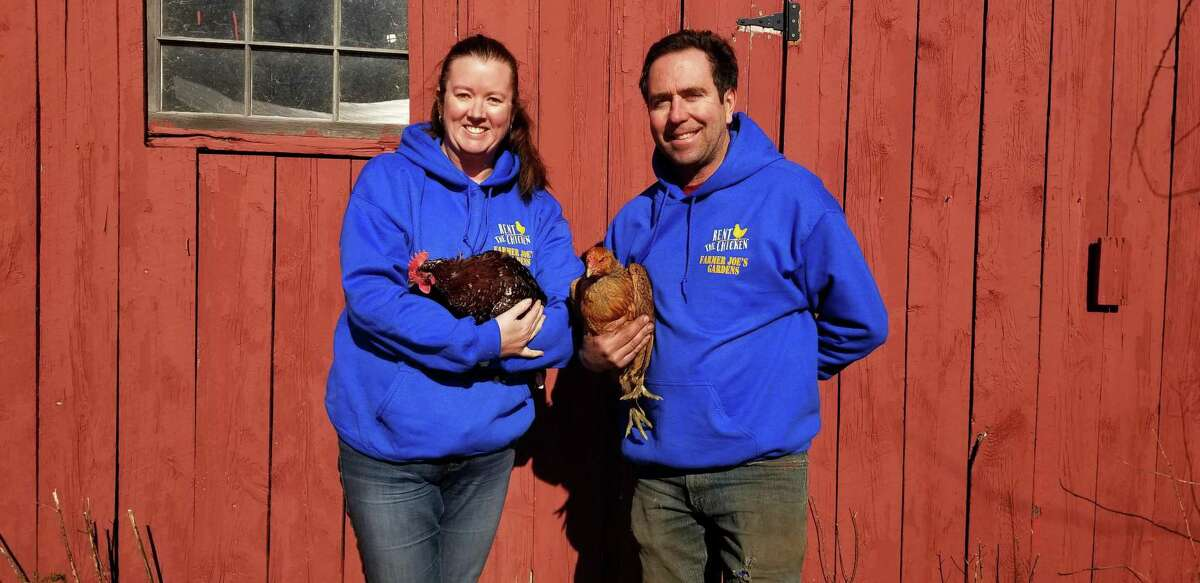 Farmer Joe's Gardens is the Connecticut representative of Rent the Chicken, a collective of farmers and homesteaders across the U.S. and Canada who provide two (or more) hens and everything needed to take care of them for six months.