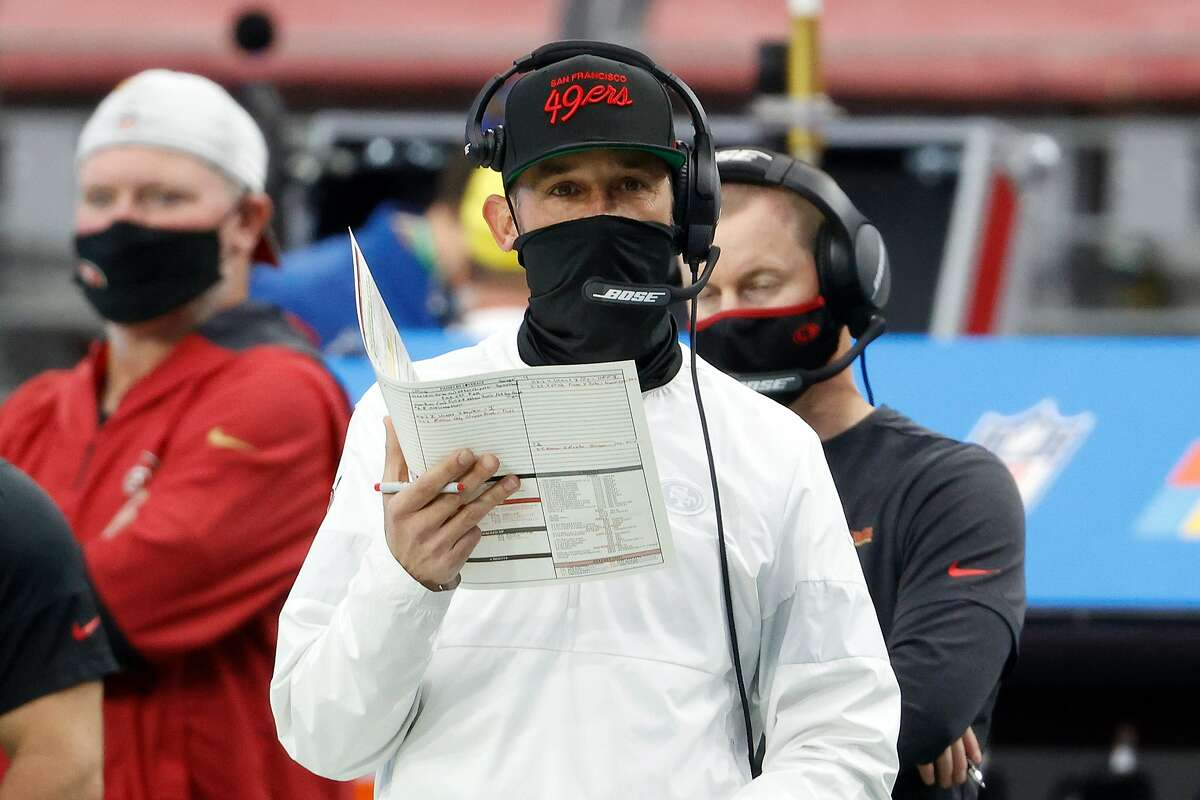 Kyle Shanahan looks on during the 49ers' Dec. 13 game in Glendale, Ariz.