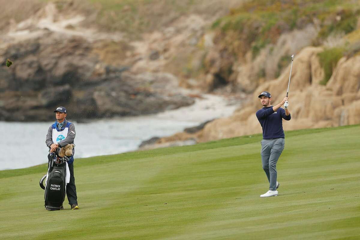 Patrick Cantlay plays a shot on the 10th hole during the first round of the AT&T Pebble Beach Pro-Am at Pebble Beach Golf Links. Cantlay made seven birdies in his first eight holes of Thursday's opening round.