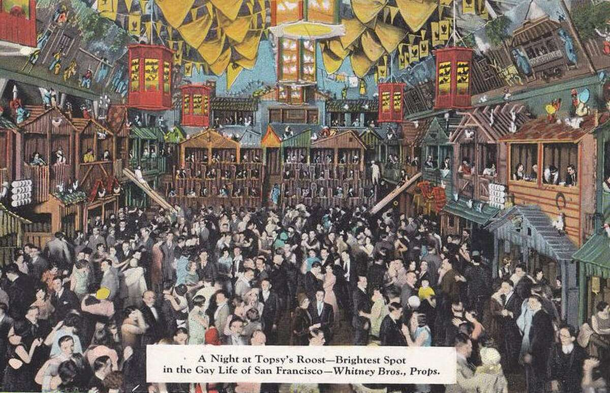 A postcard from the 1920s showing San Francisco's chicken-themed restaurant Topsy's Roost.