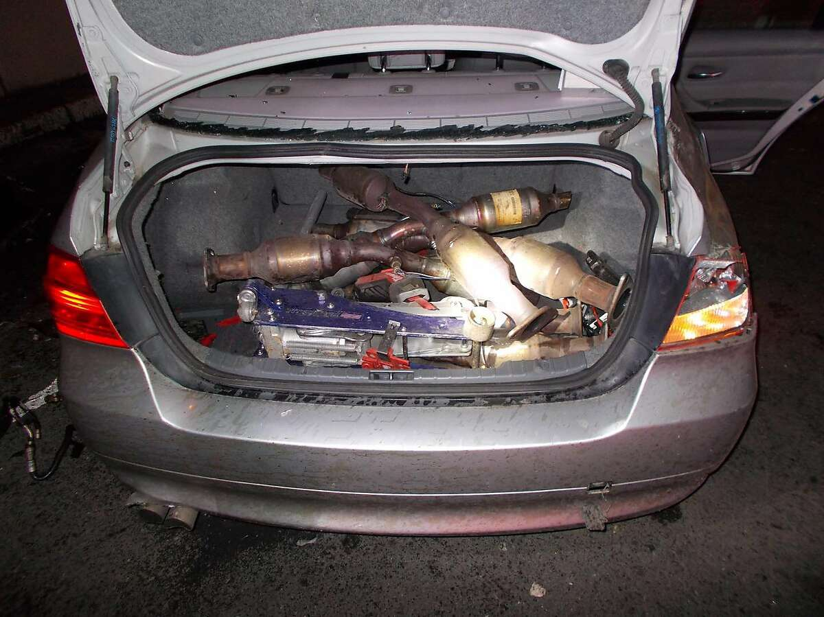 A cache of allegedly stolen catalytic converters discovered by California Highway Patrol following a high-speed chase over the Bay Bridge.