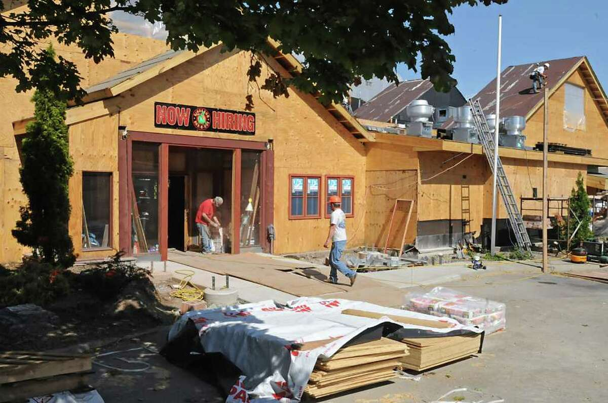 The Dinosaur Bar-B-Que restaurant is under construction in Troy. (Lori Van Buren / Times Union)