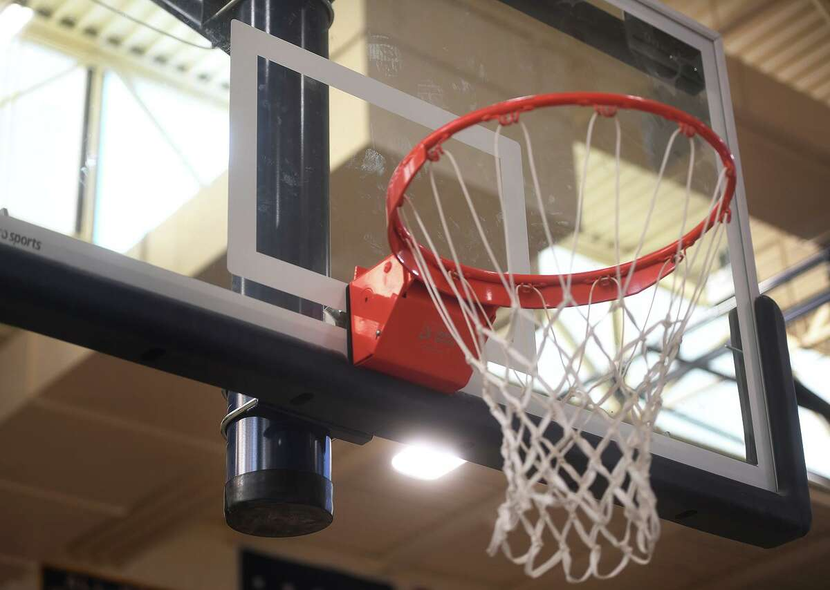 New basketball hoops are among the many new upgrades to the field house at Haddam-Killingworth.