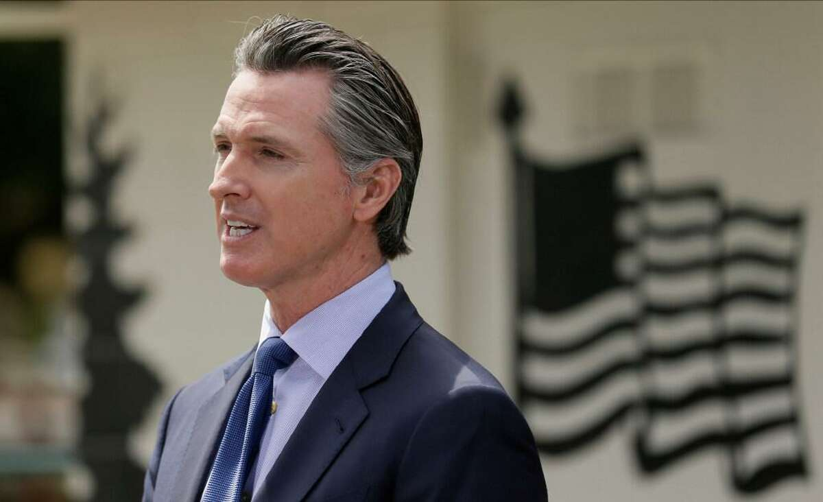 In this Friday, May 22, 2020, file photo, California Gov. Gavin Newsom speaks during a news conference at the Veterans Home of California in Yountville, Calif. A federal appeals court has denied a Southern California church's request to overturn the state's coronavirus restrictions barring worship services indoors during the coronavirus pandemic.