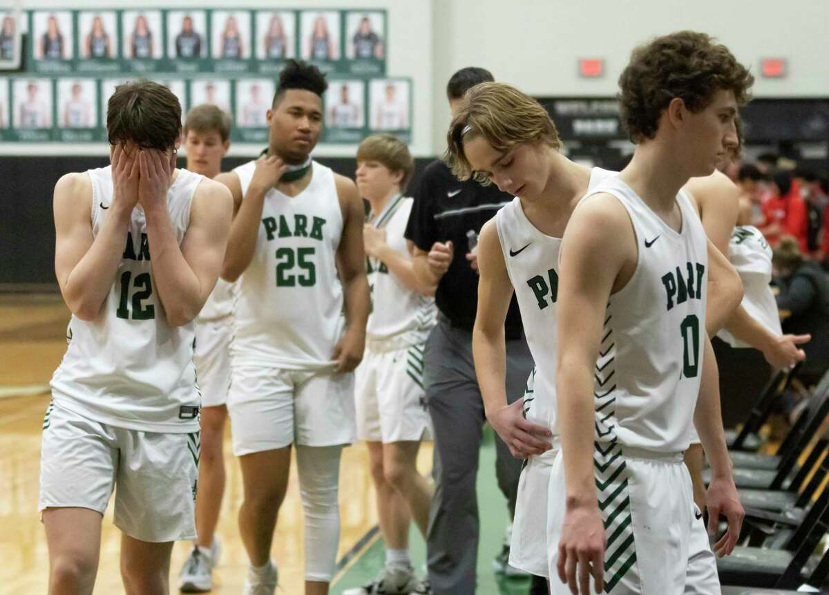 The Kingwood Park basketball team react after they lose 44-45 to Cleveland during a 20-5A District basketball game at Kingwood Park High School, Wednesday, Feb. 10, 2021, in Kingwood.