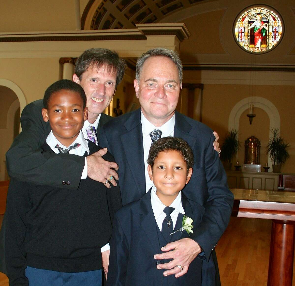 The Fisher-Paulsons celebrate Aidan's First Communion at Most Holy Redeemer Church in San Francisco on August 31, 2014.