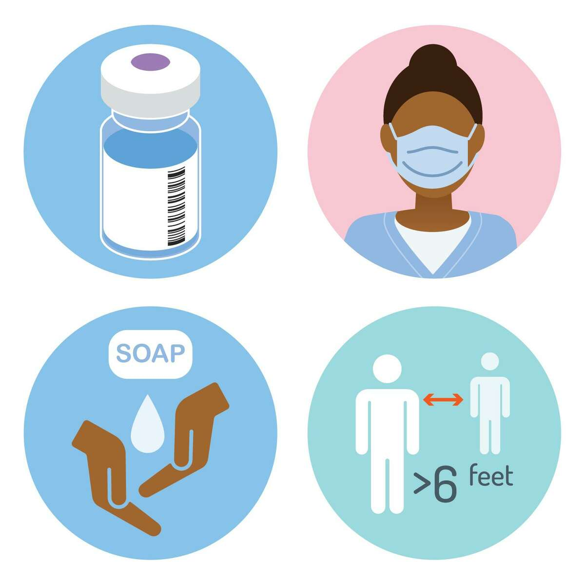 The Centers for Disease Control recommends vaccinations, wearing masks, washing hands and maintaining social distance in the fight to stop COVID-19.