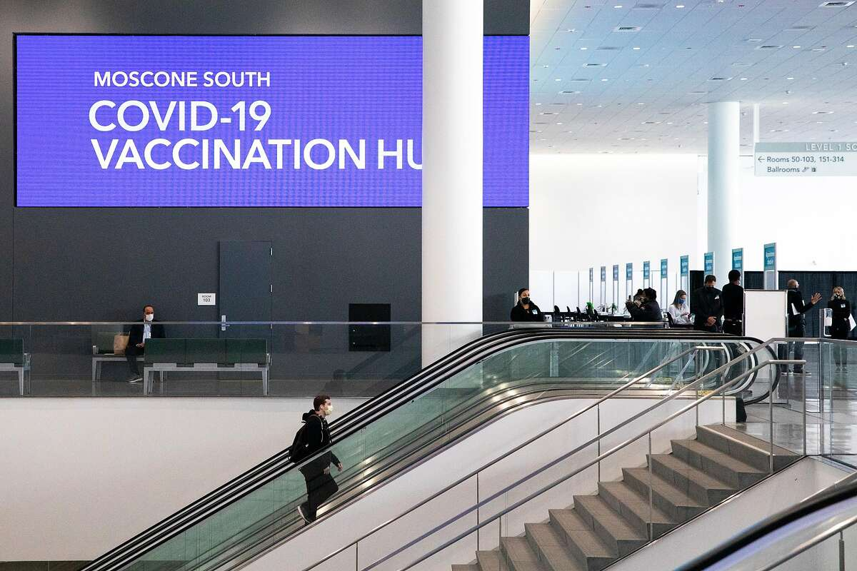 A mass COVID-19 vaccination site at Moscone South in San Francisco, Calif. Thursday, February 4, 2021. The Moscone Center expects to administer between 7,000 to 10,000 COVID-19 vaccines a day.