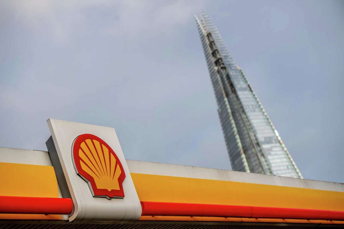 A Royal Dutch Shell petrol station in view of The Shard skyscraper in London last week. The oil major has announced its goal of achieving net-zero emissions by 2050.